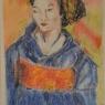 Ine Verberne Geisha pastel met plakaatverf