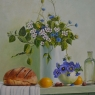 Sjannie vd Boogard Kan met bloemen  olieverf